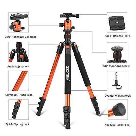"ZOMEi Q555 Lightweight Alluminum Alloy Camera Tripod with 360 Degree Ball Head + 1/4"" Quick Release Plate For Canon Nikon Sony Samsung Panasonic Olympus Fuji DSLR And Camcorders(Orange) - Farmer Brad LLC"