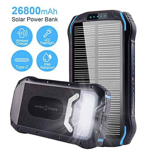 Solar Charger 26800mAh Qi Wireless Portable Solar Power Bank with LED Flashlight  Blue