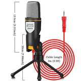 iUKUS PC Microphone with Mic Stand, Professional 3.5mm Jack Recording Condenser Microphone Compatible with PC, Laptop, iPad, iPhone, Mac-Recorder Singing YouTube Skype Gaming (3.5mm PC Microphone) - Farmer Brad LLC