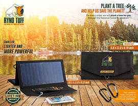 Ryno Tuff Solar Charger Dual USB Solar Panel Charger, Compact, Durable & Waterproof Solar Charger for Cell Phone, PowerBank, and Electronic Devices, Great for Camping, Hiking or Traveling  One Color