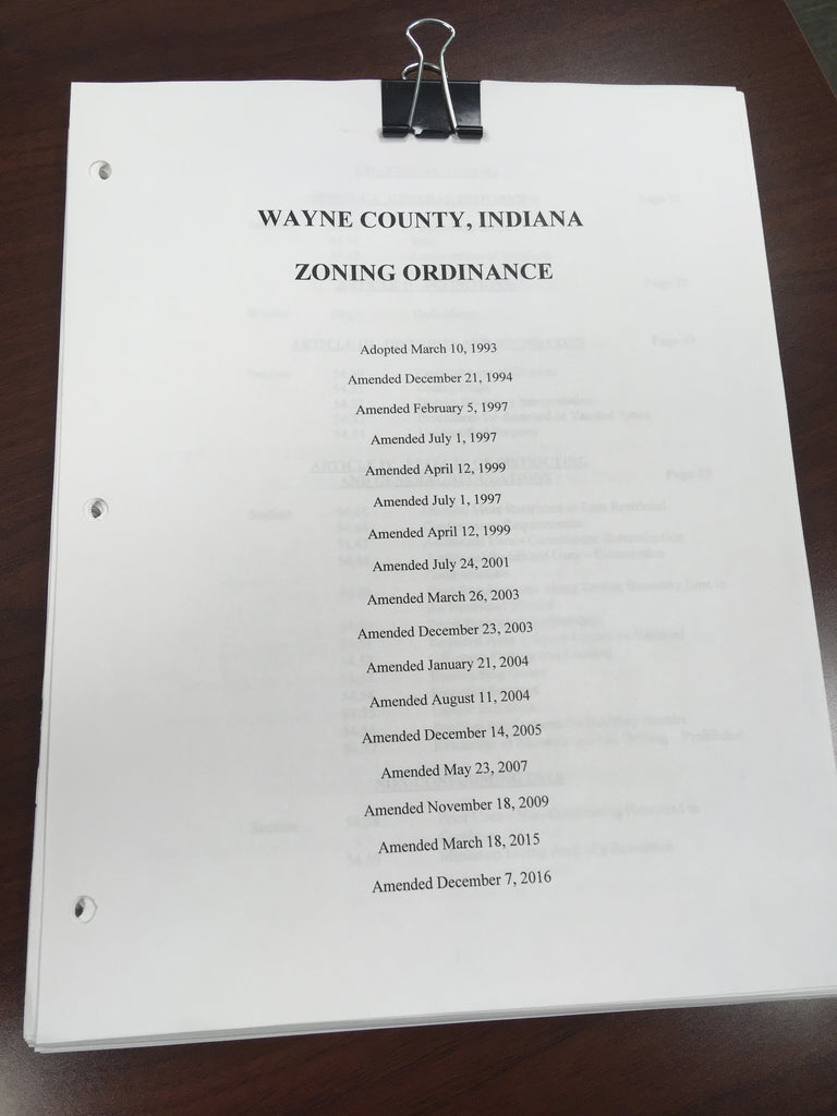 Wayne County Indiana Zoning Ordinance (FREE PDF) - Farmer Brad LLC