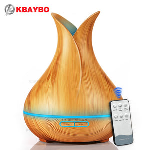 KBAYBO 400ml Aroma Essential Oil Diffuser Ultrasonic Air Humidifier with Wood Grain 7 Color Changing LED Lights for Office Home - Farmer Brad LLC
