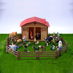 Original genuine farm house animals sets pets dogs horses pony cows sheeps chicken hen cat goose kids learning toy children gift - Farmer Brad LLC