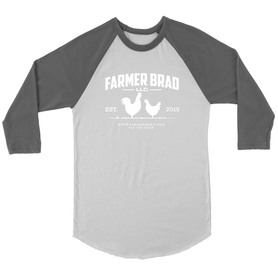 OFFICIAL FARMER BRAD (Canvas Unisex Three-Quarter Raglan) - Farmer Brad LLC