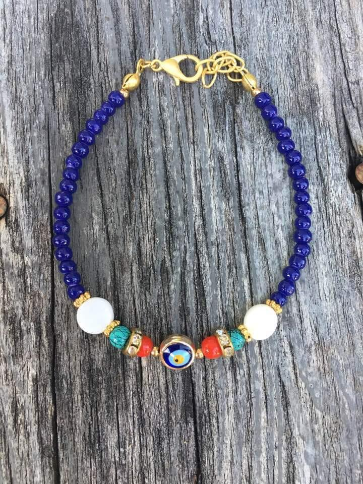 Navy and Multi Color Stone