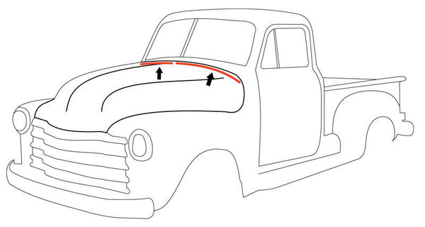 47-54 Chevy/GMC Truck Hood to Cowl Seal Weatherstrip