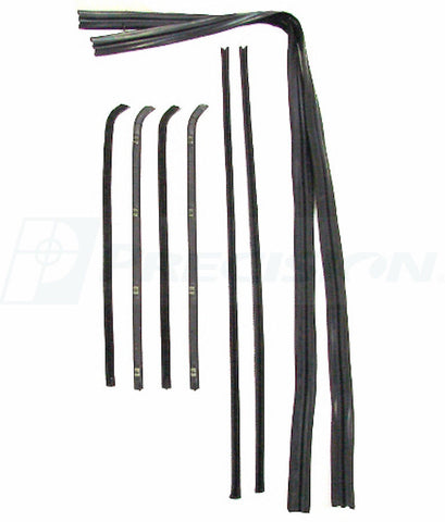 64-66 Chevy Truck Door Chrome Beltline Glass Run Channel Weatherstrip Window