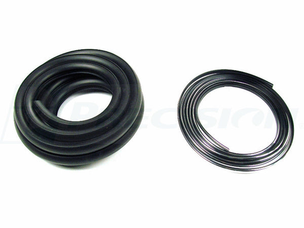 55-66 Chevy/GMC Truck Back Rear Window Glass Gasket Rubber Seal w/ Chrome Trim