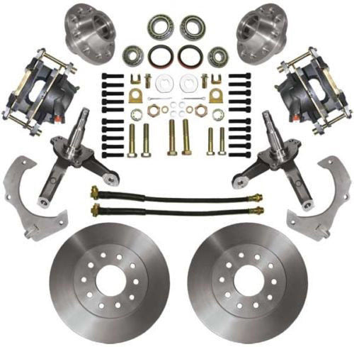 "74-78 Mustang II MBM Front 11"" Drilled & Slotted Disc Brake Kit Stock Spindles"