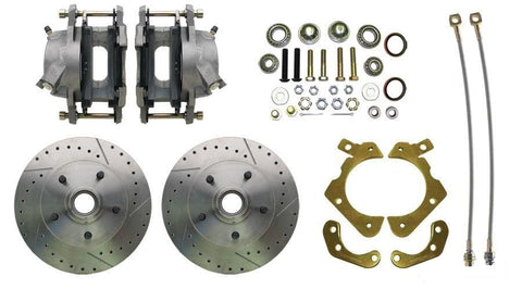 "55-58 Chevy Full Size Car MBM Front 11"" Drilled & Slotted Disc Brake Kit"