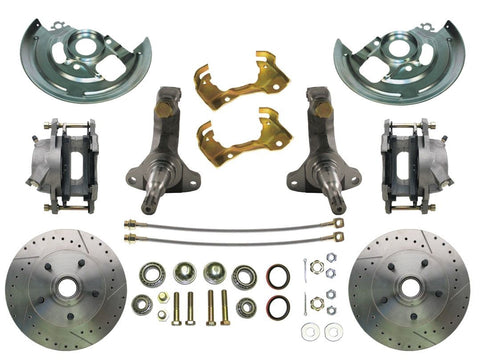 "62-67 Chevy II Nova MBM Front 11"" Drilled & Slotted Disc Brake Kit w/ Spindles"