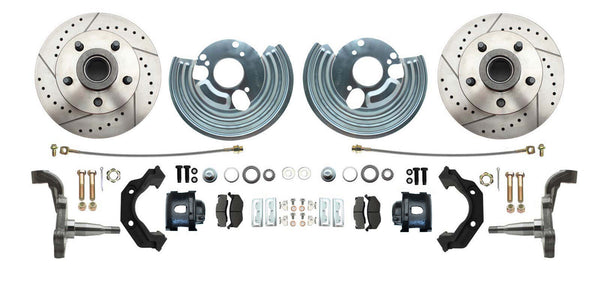 Mopar B & E-Body Complete Front Drilled & Slotted Disc Brake Kit Chrome Booster