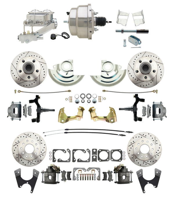 "A F X Body GM Drilled & Slotted 2"" Lowered 4 Wheel Disc Brake Kit Chrome Booster"