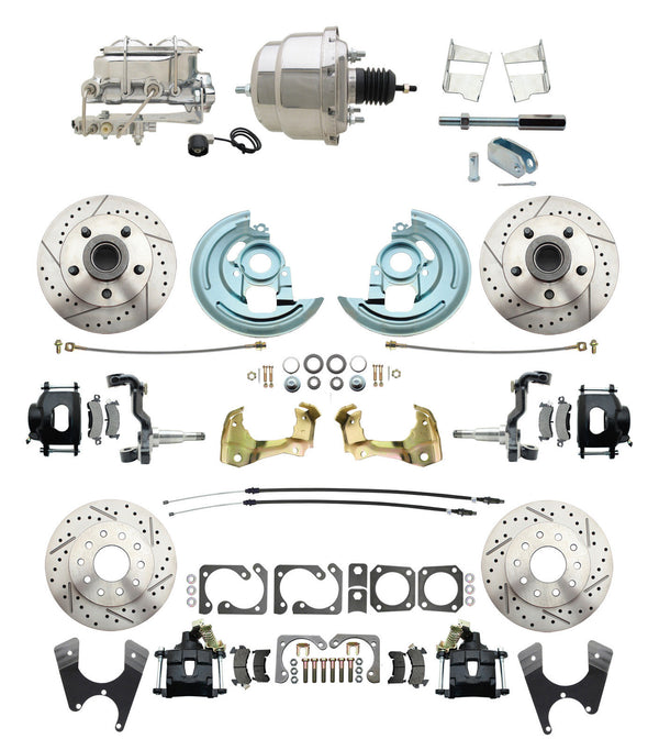 62-67 Chevy II Black Drilled/Slotted Disc Brake Conversion Kit w/ Chrome Booster