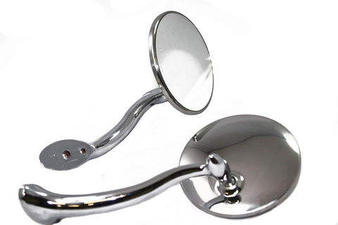 "4"" Stainless Universal Street Rod Side Rear View Mirrors Swan Neck"