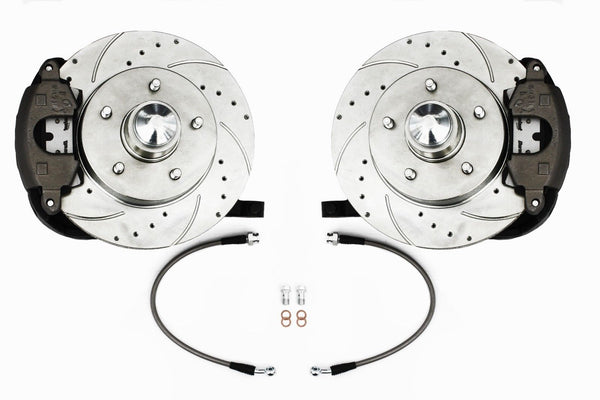 63-72 Chevy C10 Truck 5-Lug Front Disc Brake Kit Drop Spindles D/S Rotors