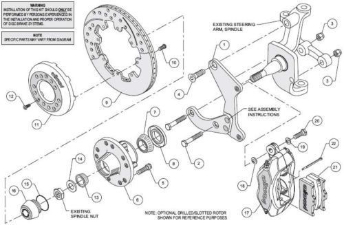 55-57 Chevy Belair Wilwood Big Disk Brake Kit Drilled Slotted