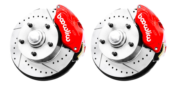 62-67 Chevy II Nova Wilwood Red Drilled & Slotted Disc Brake Kit Chrome Booster