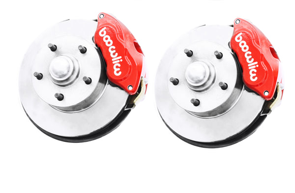Wilwood Red Front & Rear Disc Brake Kit w/ Chrome Booster & Master Cylinder