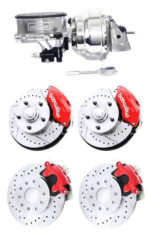 Wilwood Red Drilled Slotted Front & Rear Disc Brake Kit w/ Chrome Booster