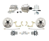 59-64 Chevy Car Drilled & Slotted Disc Brake Conversion Kit w/ Chrome Booster