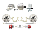 59-64 Chevy Red Drilled & Slotted Disc Brake Conversion Kit w/ Chrome Booster