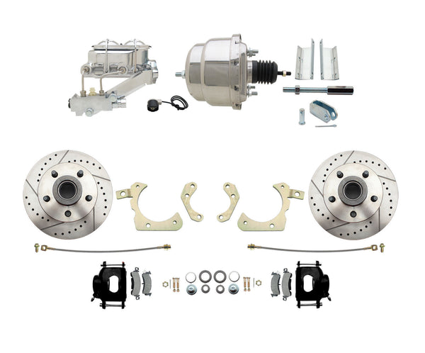 59-64 Chevy Black Drilled & Slotted Disc Brake Conversion Kit with Chrome Booster