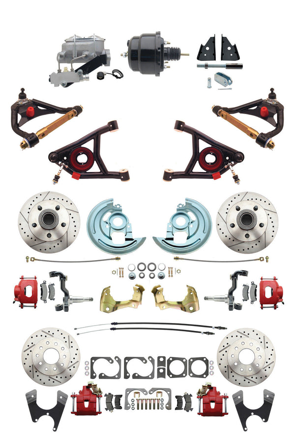 "A F X Body GM Red 2"" Drop D/S Disc Brake Kit Control Arms & Black Booster"