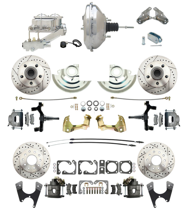 "A F X Body GM Drilled / Slotted 2"" Drop 4 Wheel Disc Brake Kit 9"" Chrome Booster"
