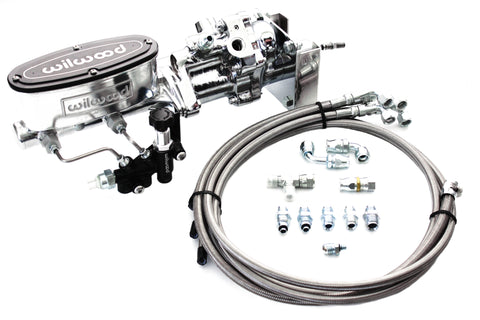 Chrome Hydroboost Brake Booster, Polished Wilwood Master Cylinder & Hose Kit