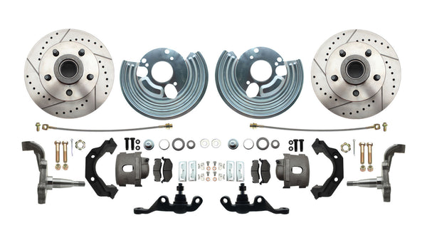 Dodge Plymouth Mopar A-Body Front Drilled/Slotted Disc Brake Kit Chrome Booster