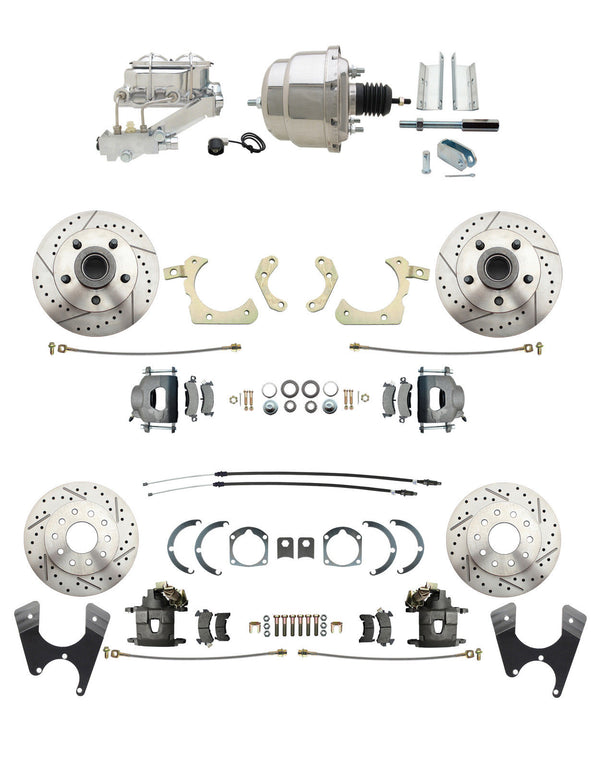 Chevy Car Front/Rear Drilled & Slotted Disc Brake Conversion Kit Chrome Booster