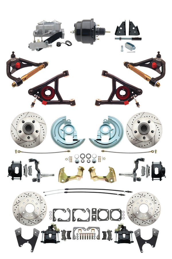 "A F X Body GM Black 2"" Drop D/S Disc Brake Kit w/ Control Arms & Black Booster"