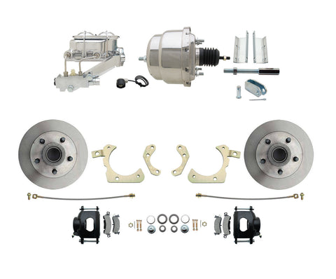 59-64 Chevy Car Disc Brake Conversion Kit w/ Chrome Booster & Master Cylinder