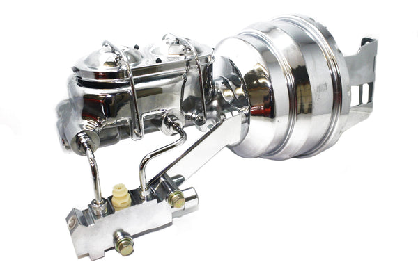 A F X Body GM Drilled & Slotted Front Disc Brake Kit w/ Chrome Booster & M/C