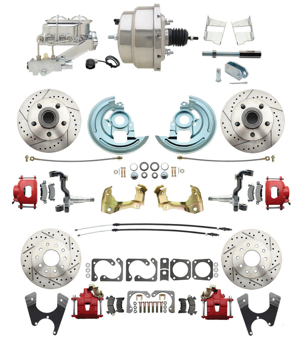 "A F X Body GM Red D/S Disc Brake Conversion Kit 2"" Drop Spindles Chrome Booster"