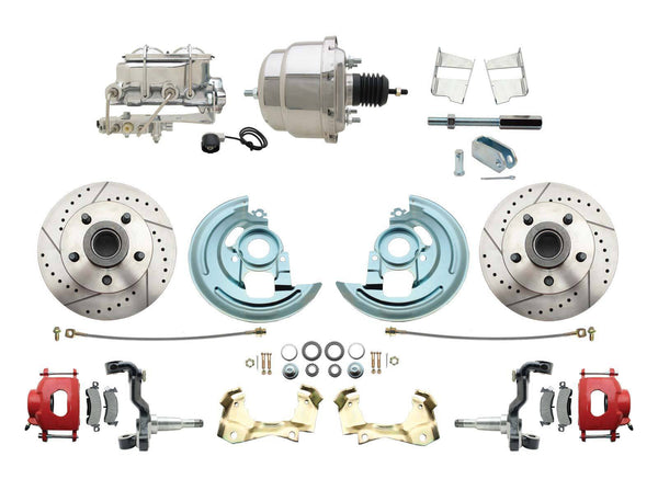 62-67 Chevy II Nova Drilled & Slotted Disc Brake Conversion Kit Chrome Booster