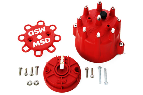 MSD Pro Billet Distributor Cap and Rotor Male HEI Clamp Down