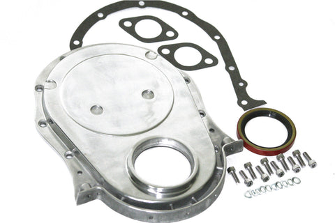 BBC Polished Aluminum Timing Chain / Gear Drive Cover Kit w