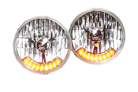 "Pair of 7"" Headlights With Integrated Amber LED Turn Signals"