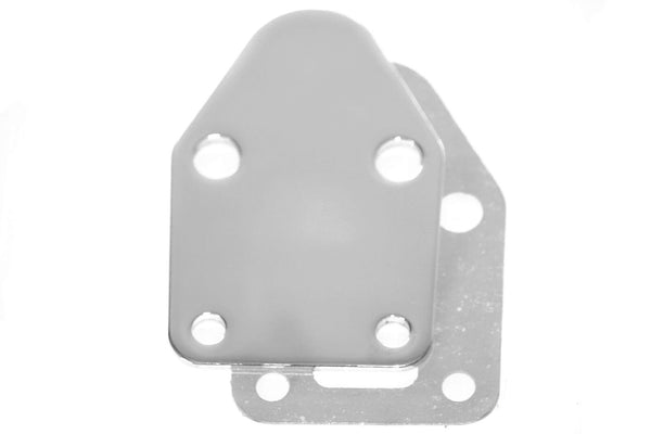 SBC Chrome Fuel Pump Block Off Plate w/ Gasket