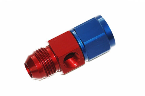 "Russell -8 AN Male Flare to -8 Female Straight Fitting w/ 1/8"" Gauge Port"