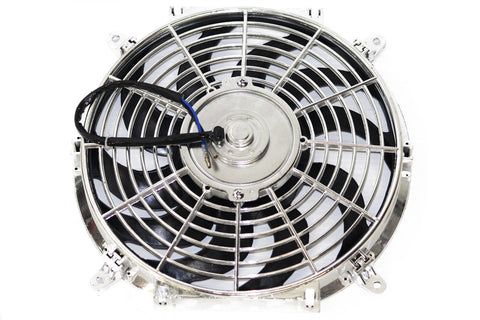 "12"" Chrome Curved Blade Reversible Electric Cooling Fan"
