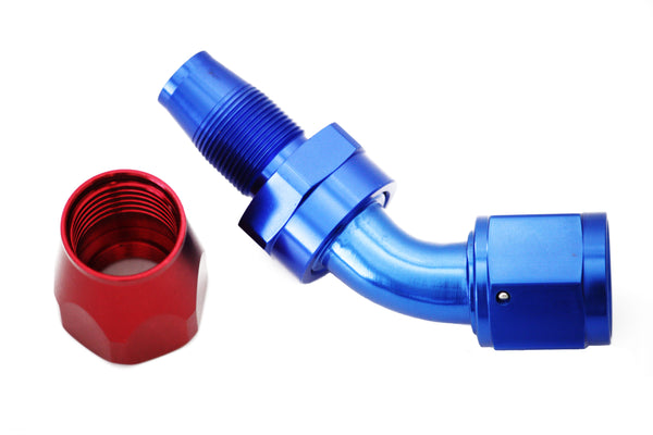 Blue/Red -16 AN 45 Degree Swivel Hose End Fitting