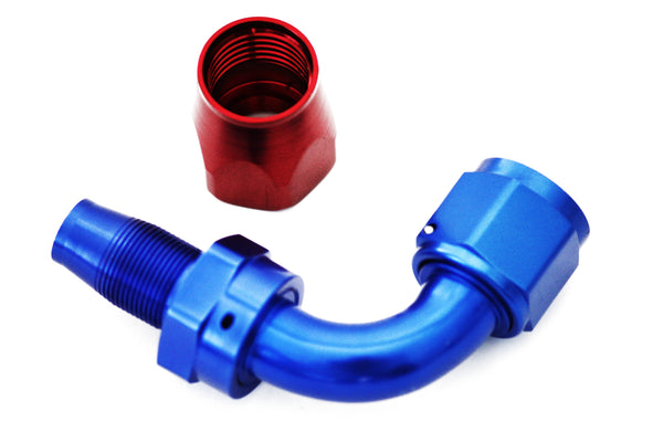 Blue/Red -10 AN 90 Degree Swivel Hose End Fitting