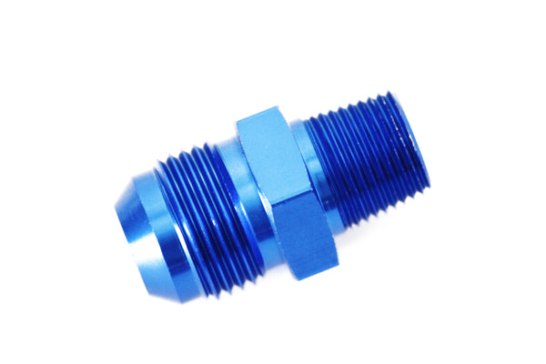 "Blue/Red -10 AN Flare to 3/8"" NPT Straight Hose Adapter Fitting"