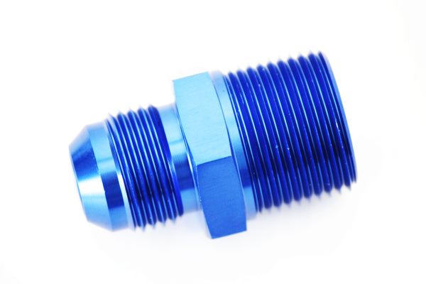 "Blue -8 AN Flare to 3/4"" NPT Straight Hose Adapter Fitting"