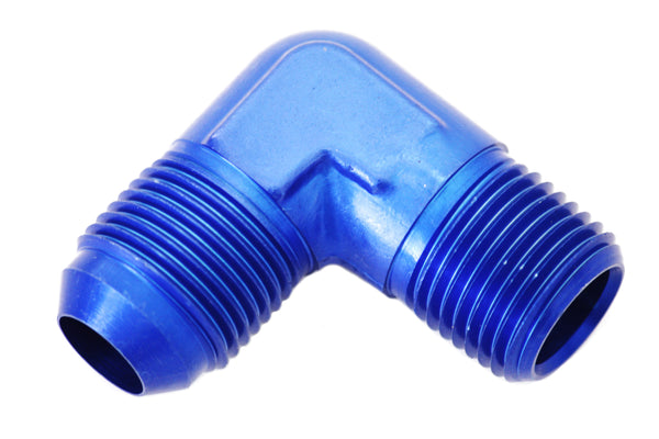 "Blue -8 AN Flare to 3/8"" NPT 90 Degree Hose Adapter Fitting"