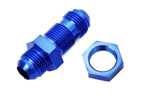 Blue -12 AN Male Flare Straight Bulkhead Fitting & Nut