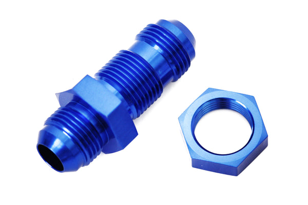 Blue -10 AN Male Flare Straight Bulkhead Fitting & Nut